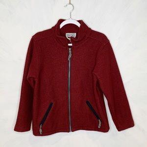 IBex Maroon Full Zip Wool Jacket